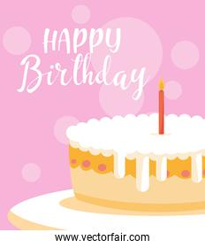 happy birthday card with sweet cake and candle