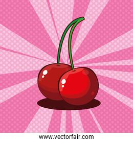 fresh cherries fruits icon