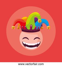 april fools day with crazy face and joker hat