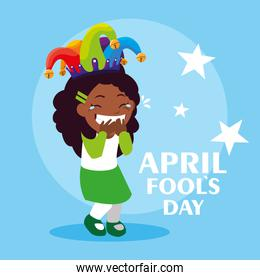 happy girl with joker hat april fools day card