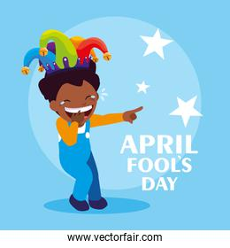 happy boy with joker hat april fools day card