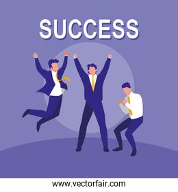 successful businessmen celebrating characters