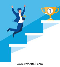 successful businessman celebrating in stairs