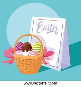 decorated easter eggs in basket wicker with card