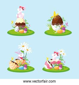 group rabbits with eggs of easter in garden
