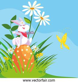 cute rabbit with egg of easter in garden