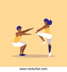 young couple black performing exercise icon