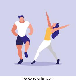 young couple fitness dancing