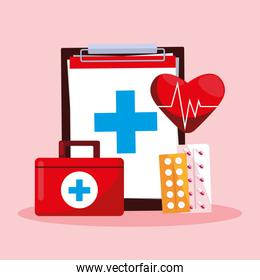 world health day card with clipboard and first aid kit