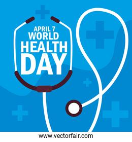 world health day card with stethoscope