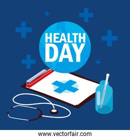 world health day card with clipboard and set icons