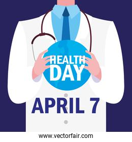world health day card with doctor
