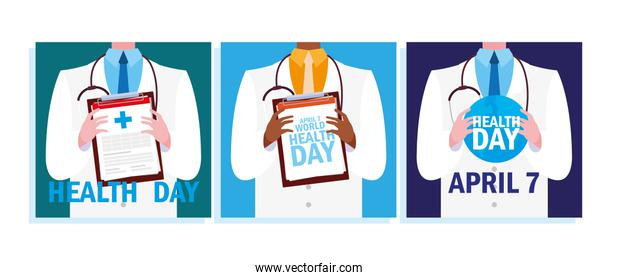 set of cards world health day with doctor
