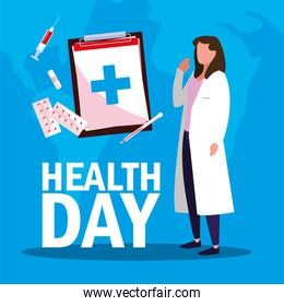 world health day card with doctor woman and icons