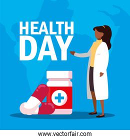 world health day card with woman doctor and medicines