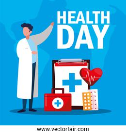 world health day card with doctor man and icons