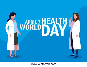 world health day card with doctors women