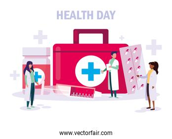 world health day card with doctors staff and icons