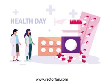 world health day card with doctors women and medicines
