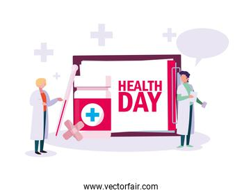 world health day card with doctors men