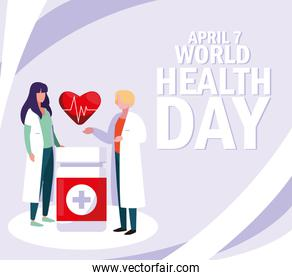world health day with couple doctors and icons