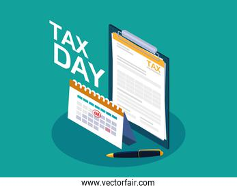 tax day with clipboard and calendar reminder