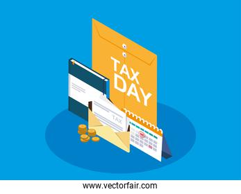 tax day with envelope manila and business icons