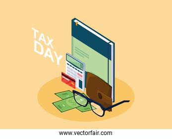 tax day with book and set icons