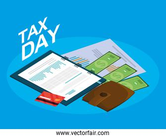 tax day with planner and business icons