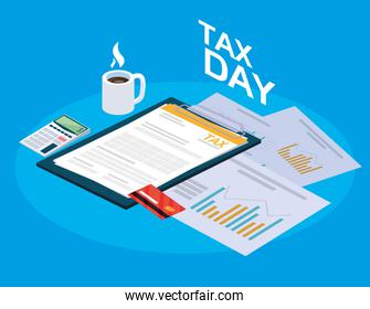 tax day with clipboard and business icons