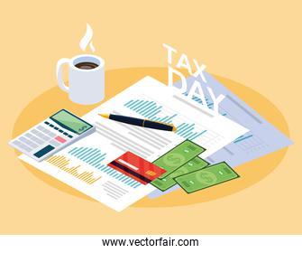 tax day with statistic document and set icons