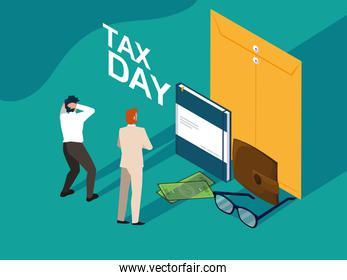 businessmen in tax day with envelope and icons