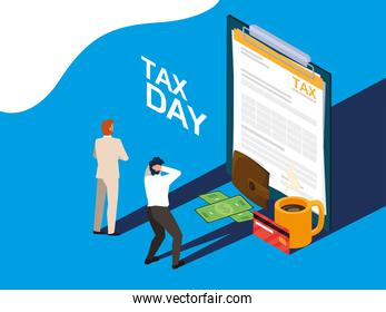 businessmen in tax day with clipboard and icons