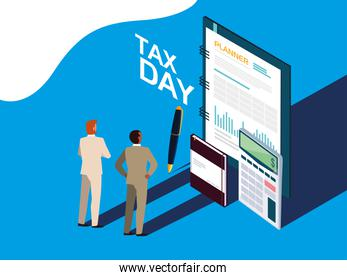 businessmen in tax day with planner and icons