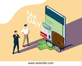 businessmen in tax day with book and set icons