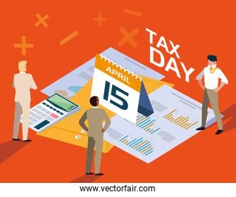 businessmen in tax day with calendar and designs