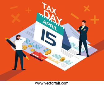 businessmen in tax day with calendar and icons