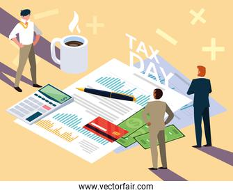 businessmen in tax day with statistic document and icons