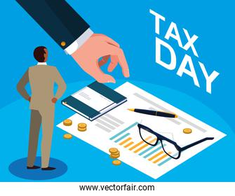 businessman in tax day with statistic document and icons