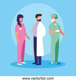 group of doctors and surgeon avatar character