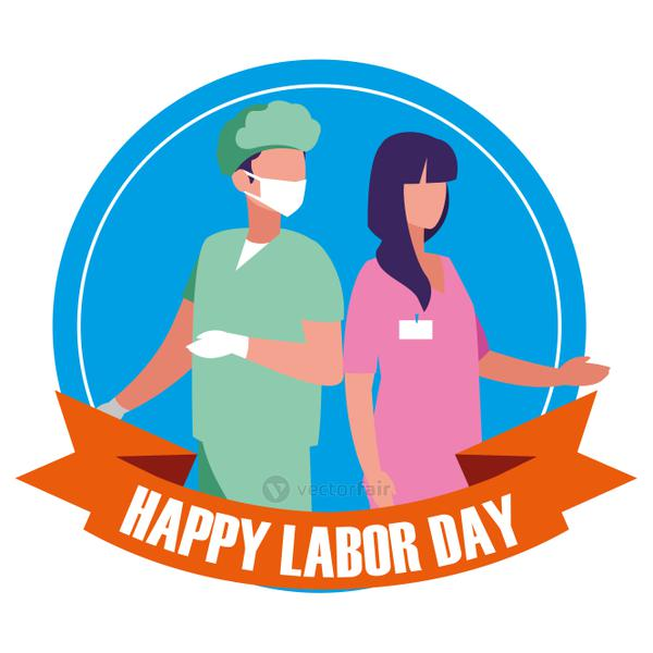 labour day celebration seal with surgeons