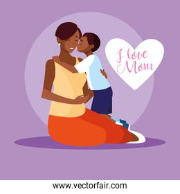 mother black with cute son avatar character