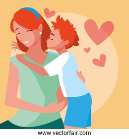 mother with cute son avatar character