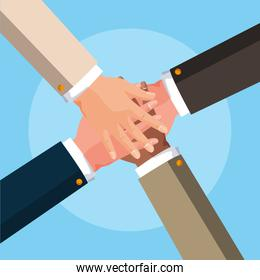 teamwork hands avatar character vector ilustration