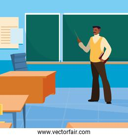 teacher man with classroom and chalkboard
