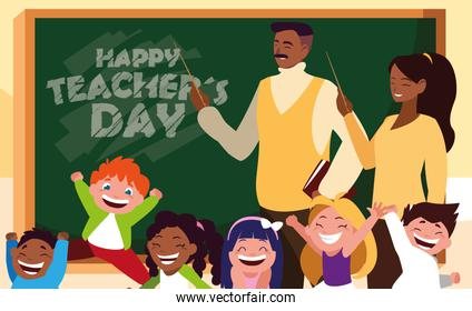 happy teacher day with teachers black and students