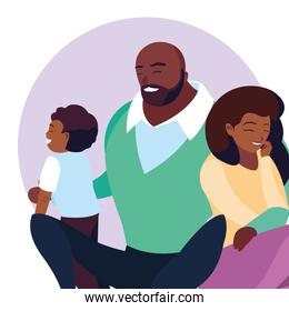 afro parents with son family avatar character