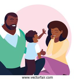 smiling afro parents with son family avatar character