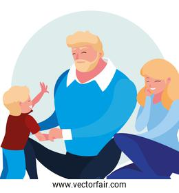 parents with son family avatar character