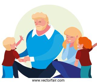 parents with children family avatar character
